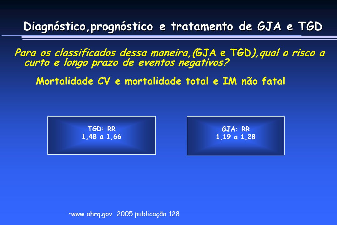 Diagnóstico,prognóstico e tratamento de GJA e TGD