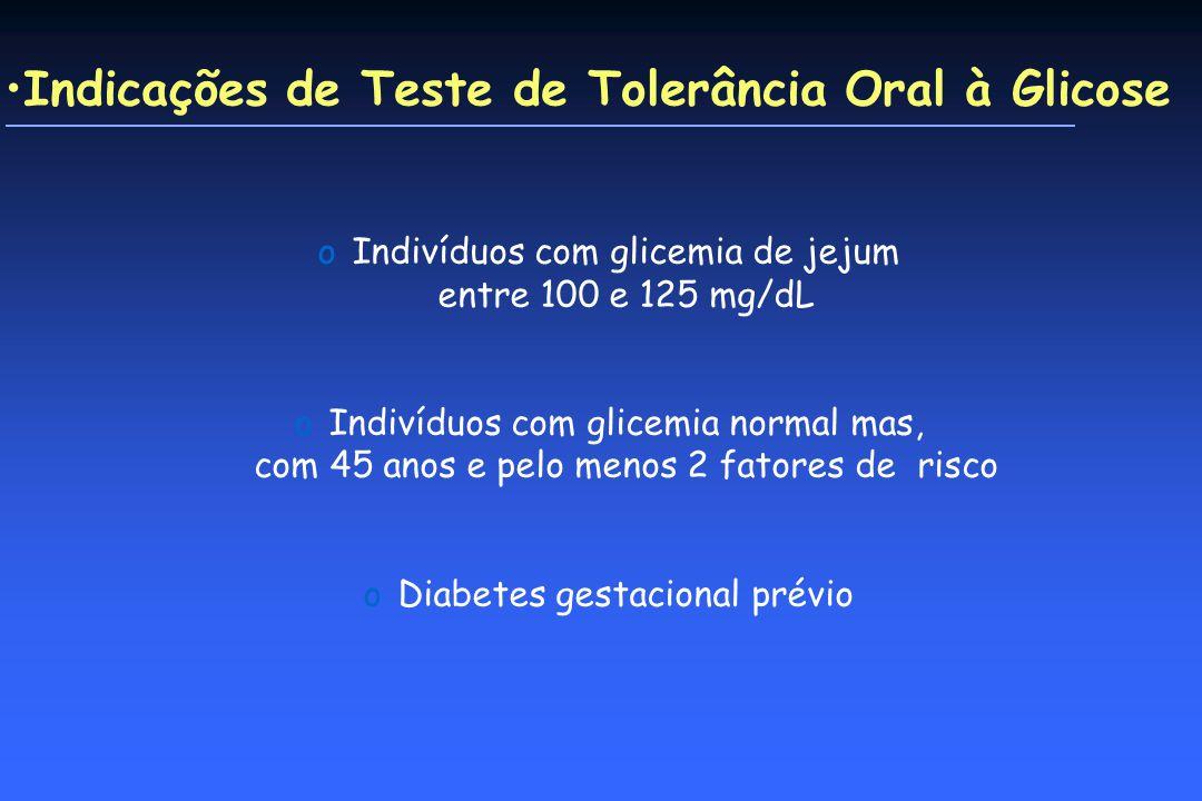 Indicações de Teste de Tolerância Oral à Glicose