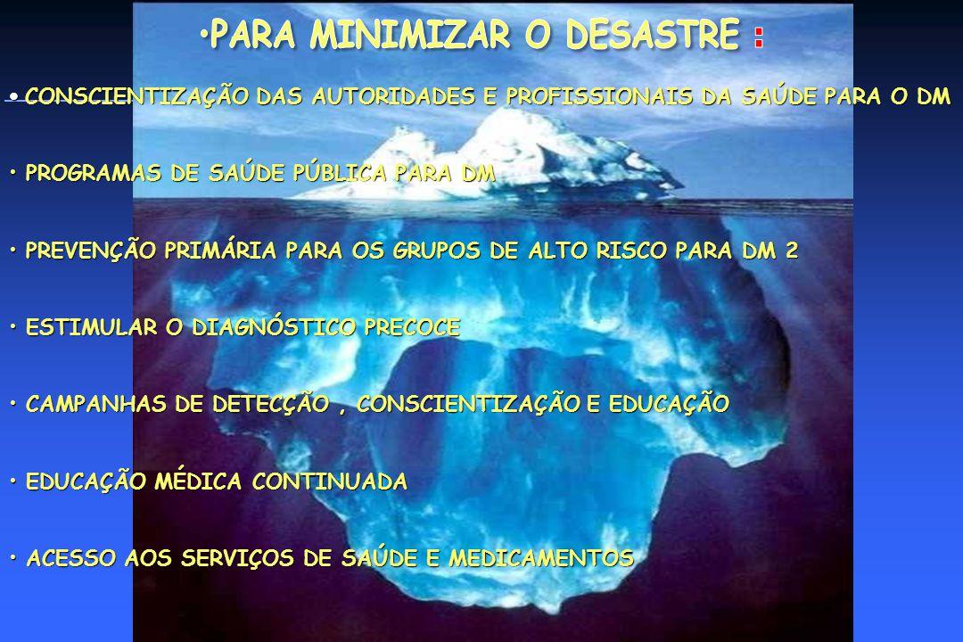 PARA MINIMIZAR O DESASTRE :