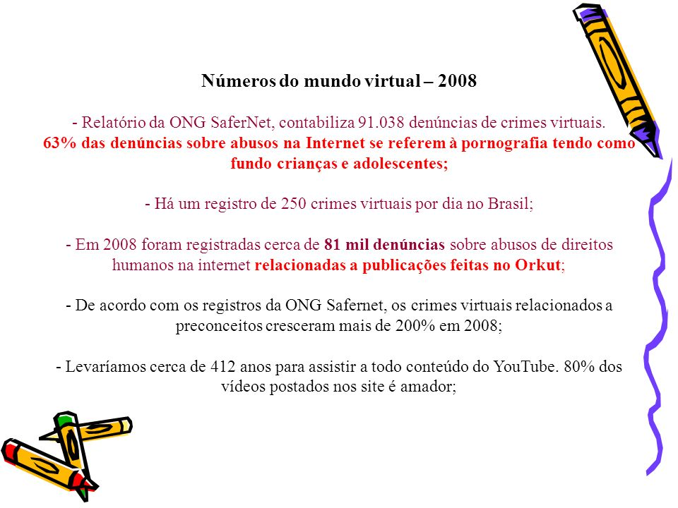 Números do mundo virtual – 2008