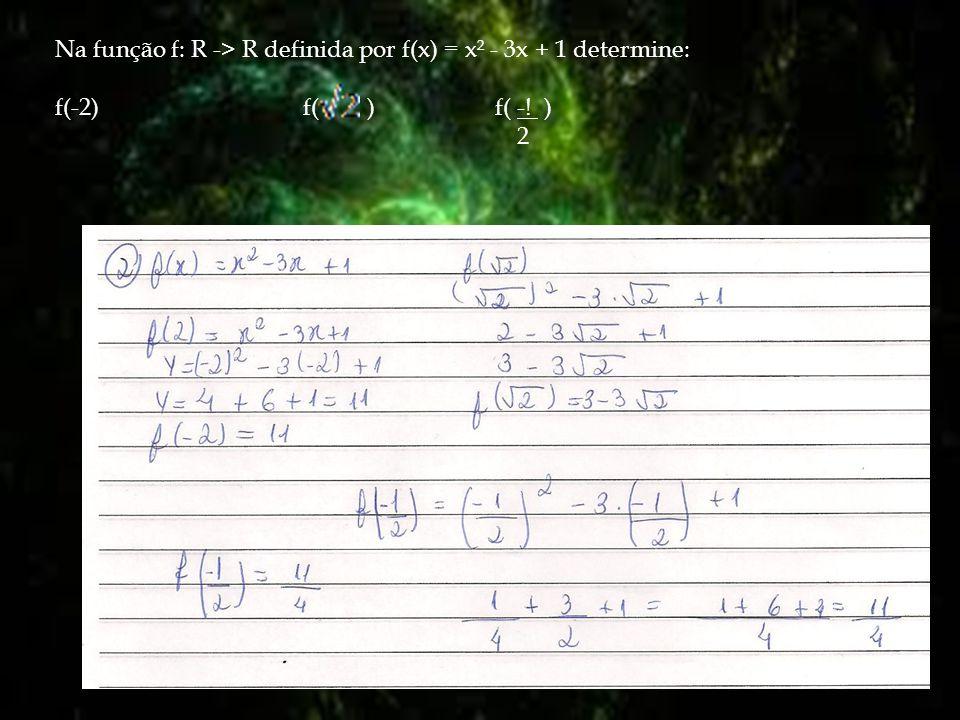 Na função f: R -> R definida por f(x) = x² - 3x + 1 determine: