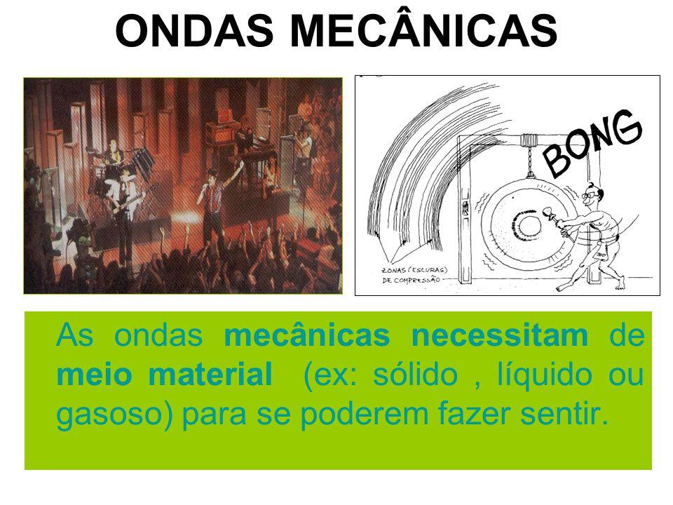 ONDAS MECÂNICAS As ondas mecânicas necessitam de meio material (ex: sólido , líquido ou gasoso) para se poderem fazer sentir.