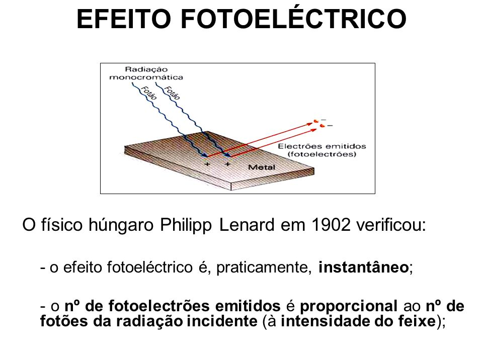 EFEITO FOTOELÉCTRICO O físico húngaro Philipp Lenard em 1902 verificou: - o efeito fotoeléctrico é, praticamente, instantâneo;