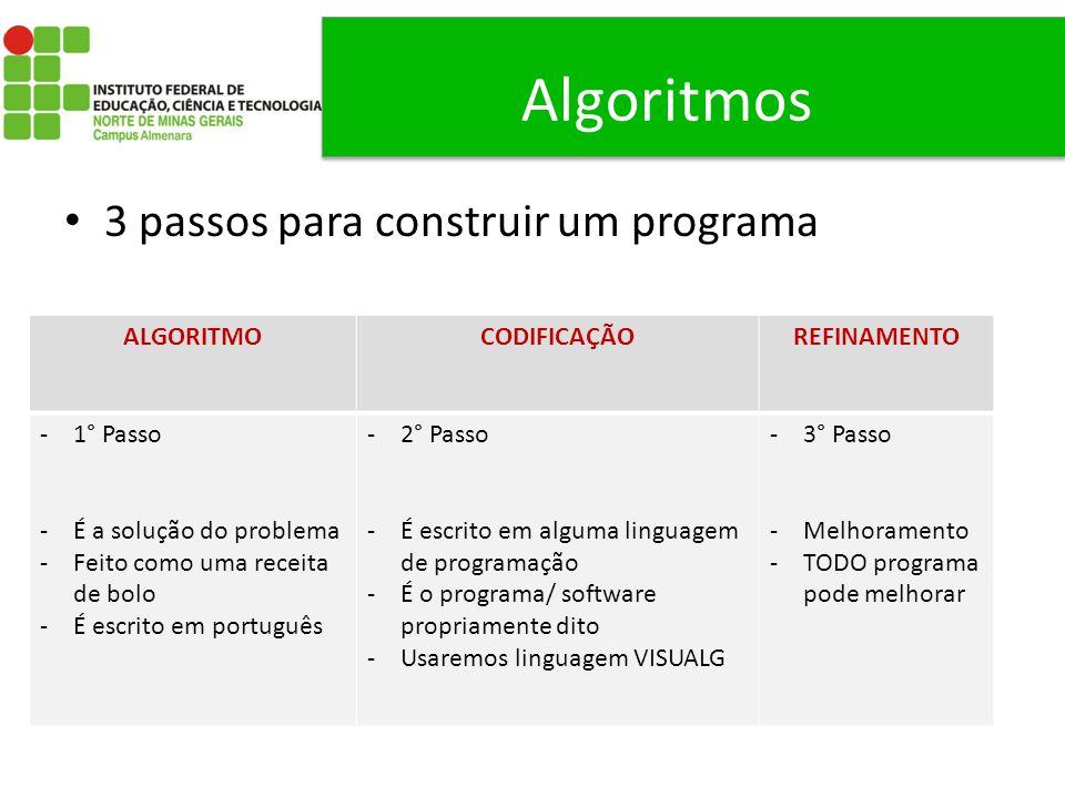 Algoritmos 3 passos para construir um programa ALGORITMO CODIFICAÇÃO