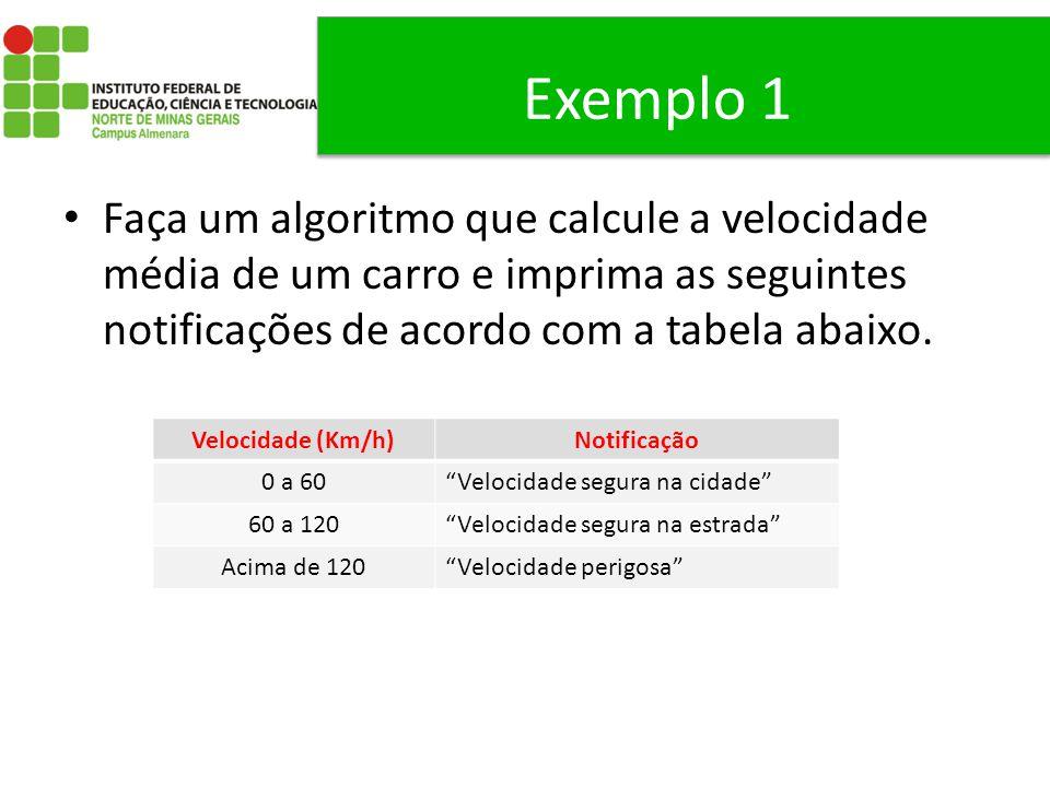 Exemplo 1 Faça um algoritmo que calcule a velocidade média de um carro e imprima as seguintes notificações de acordo com a tabela abaixo.