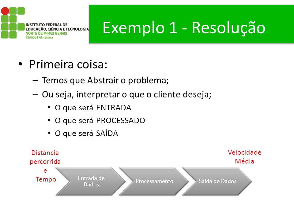 Exemplo 1 - Resolução Primeira coisa: Temos que Abstrair o problema;