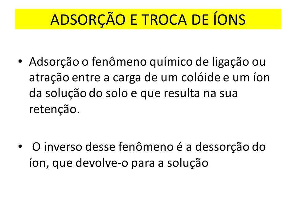 ADSORÇÃO E TROCA DE ÍONS
