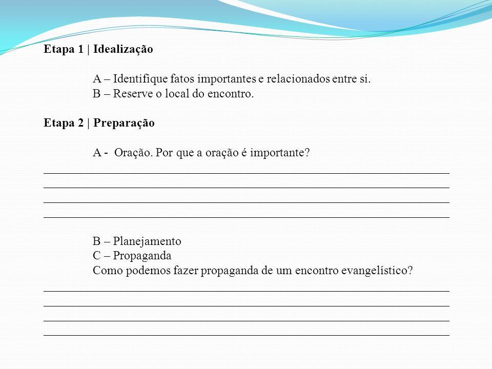 Etapa 1 | Idealização A – Identifique fatos importantes e relacionados entre si. B – Reserve o local do encontro.