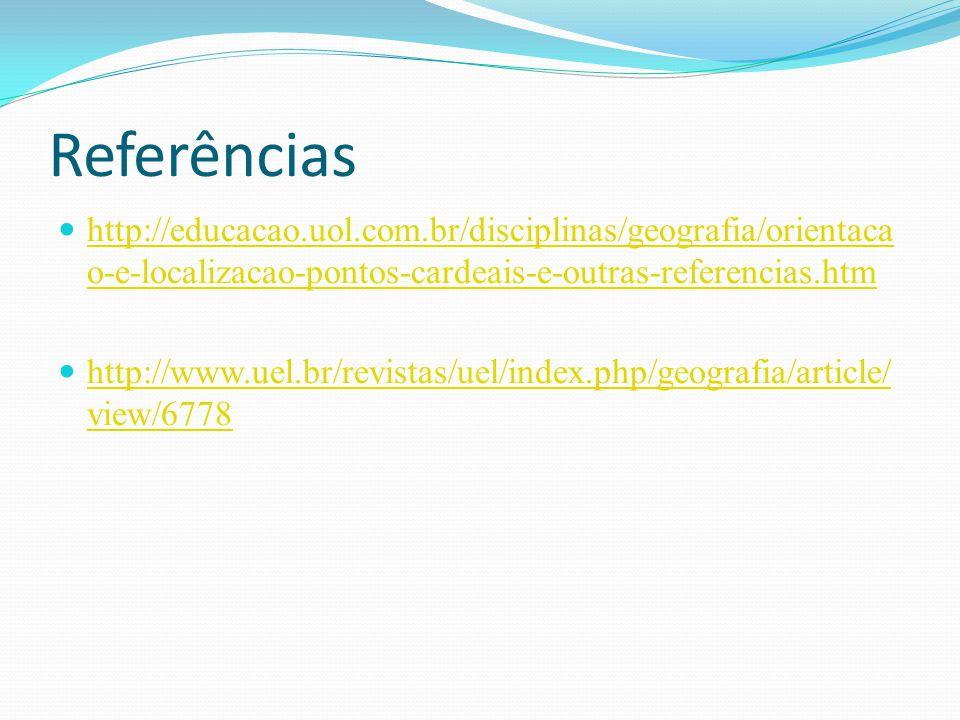 Referências http://educacao.uol.com.br/disciplinas/geografia/orientacao-e-localizacao-pontos-cardeais-e-outras-referencias.htm.