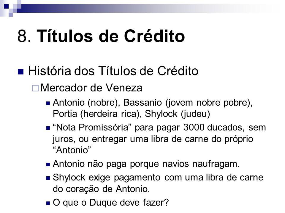 8. Títulos de Crédito História dos Títulos de Crédito