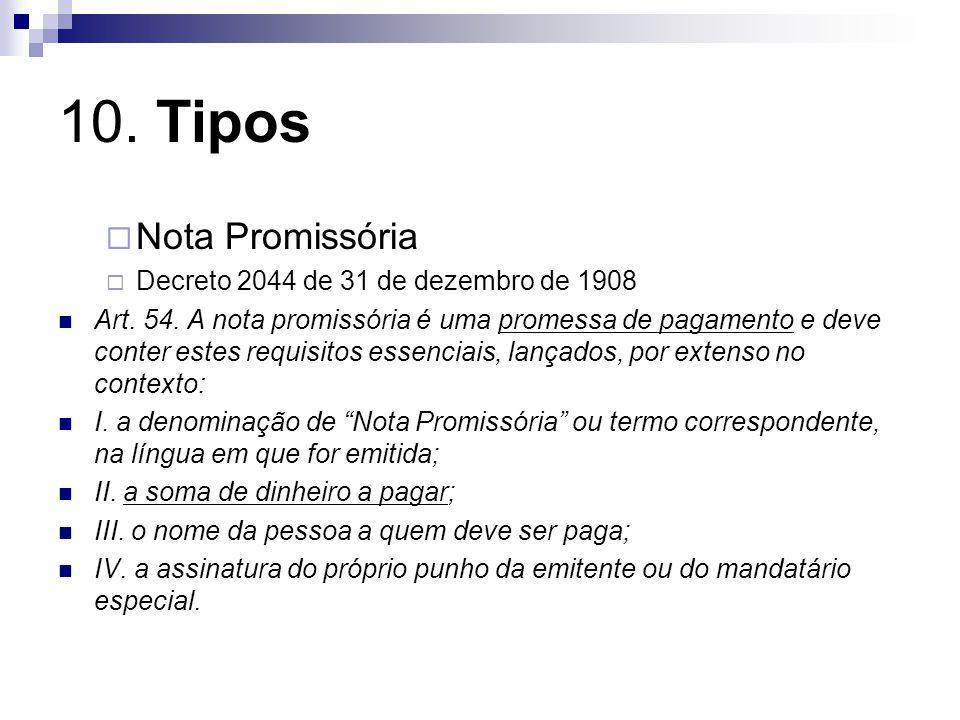 10. Tipos Nota Promissória Decreto 2044 de 31 de dezembro de 1908