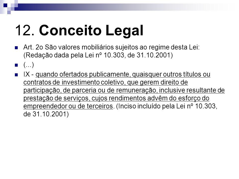 12. Conceito Legal Art. 2o São valores mobiliários sujeitos ao regime desta Lei: (Redação dada pela Lei nº 10.303, de 31.10.2001)