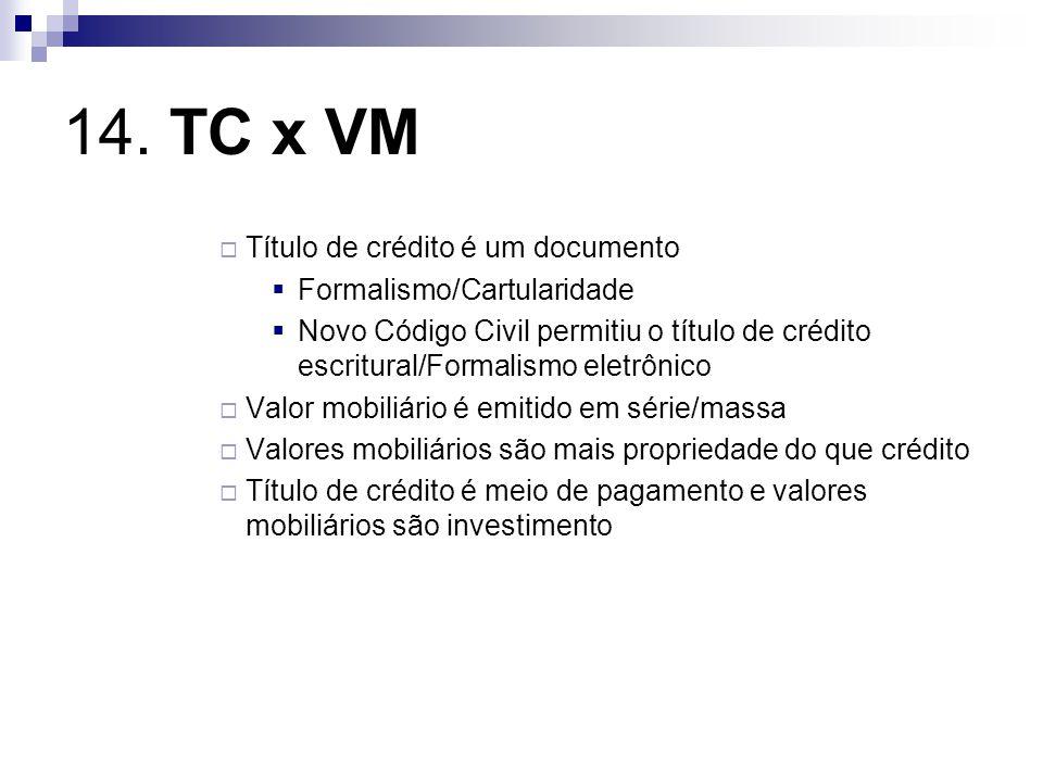 14. TC x VM Título de crédito é um documento Formalismo/Cartularidade