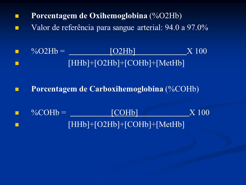 Porcentagem de Oxihemoglobina (%O2Hb)