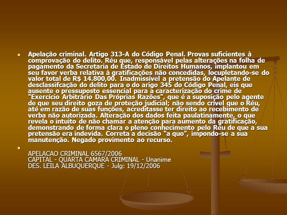 Apelação criminal. Artigo 313-A do Código Penal