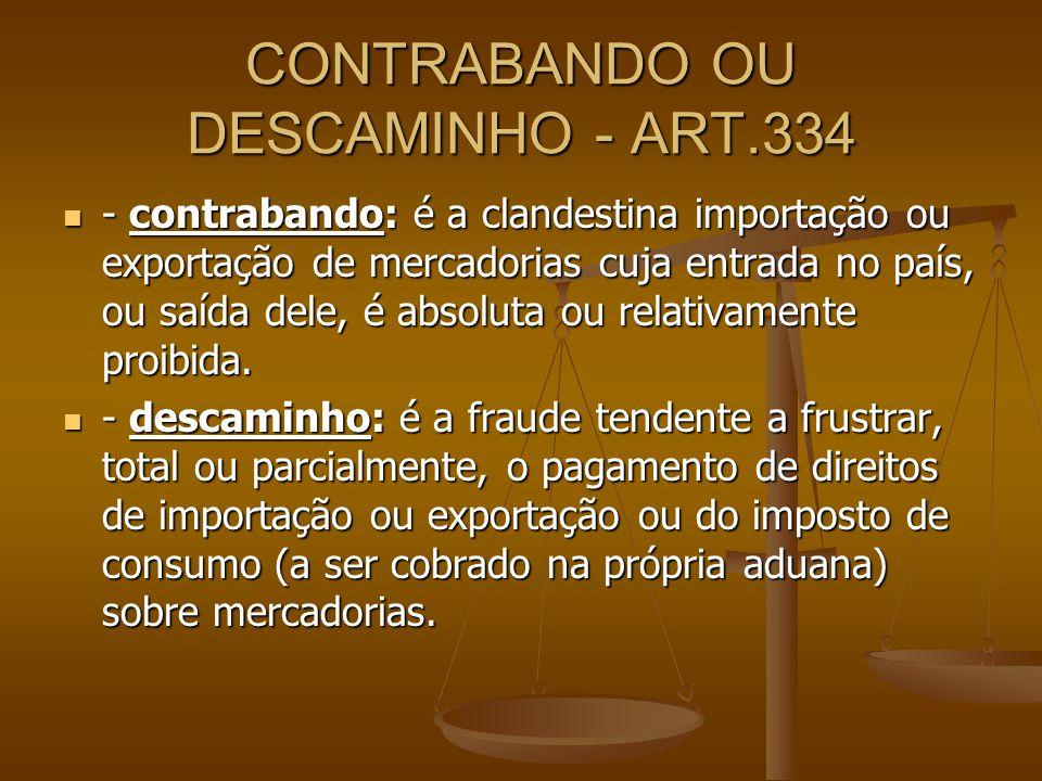 CONTRABANDO OU DESCAMINHO - ART.334