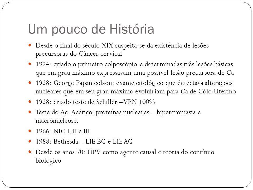Um pouco de História Desde o final do século XIX suspeita-se da existência de lesões precursoras do Câncer cervical.