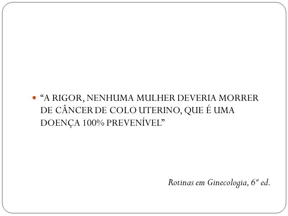 A RIGOR, NENHUMA MULHER DEVERIA MORRER DE CÂNCER DE COLO UTERINO, QUE É UMA DOENÇA 100% PREVENÍVEL