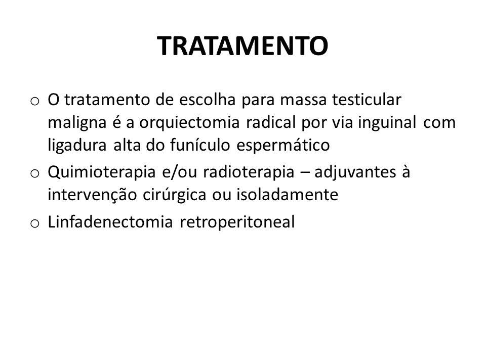 TRATAMENTO O tratamento de escolha para massa testicular maligna é a orquiectomia radical por via inguinal com ligadura alta do funículo espermático.