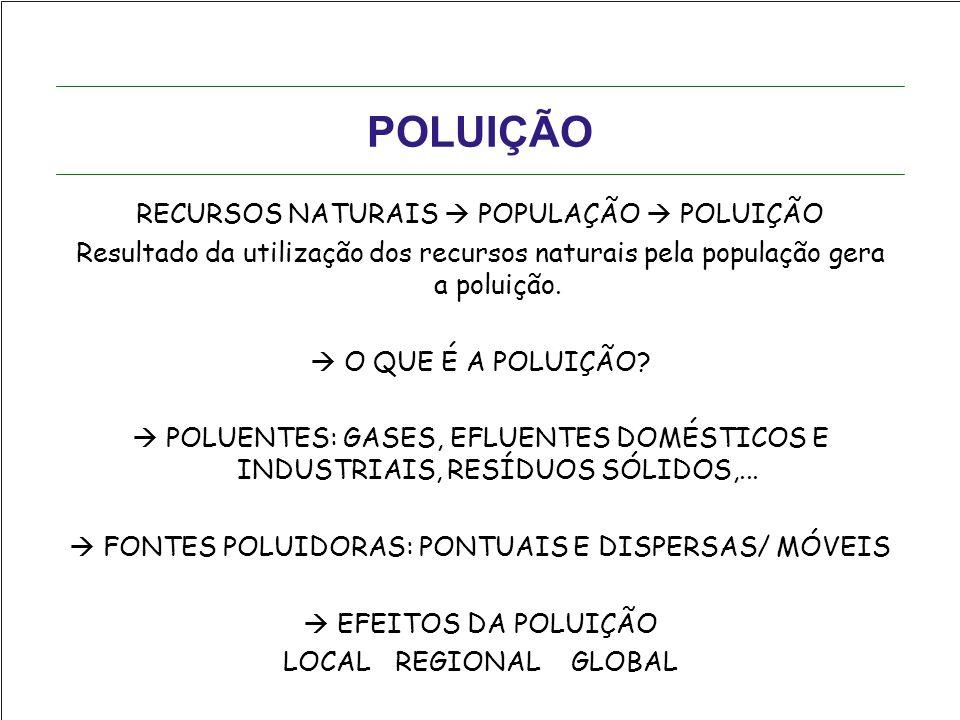 POLUIÇÃO RECURSOS NATURAIS  POPULAÇÃO  POLUIÇÃO