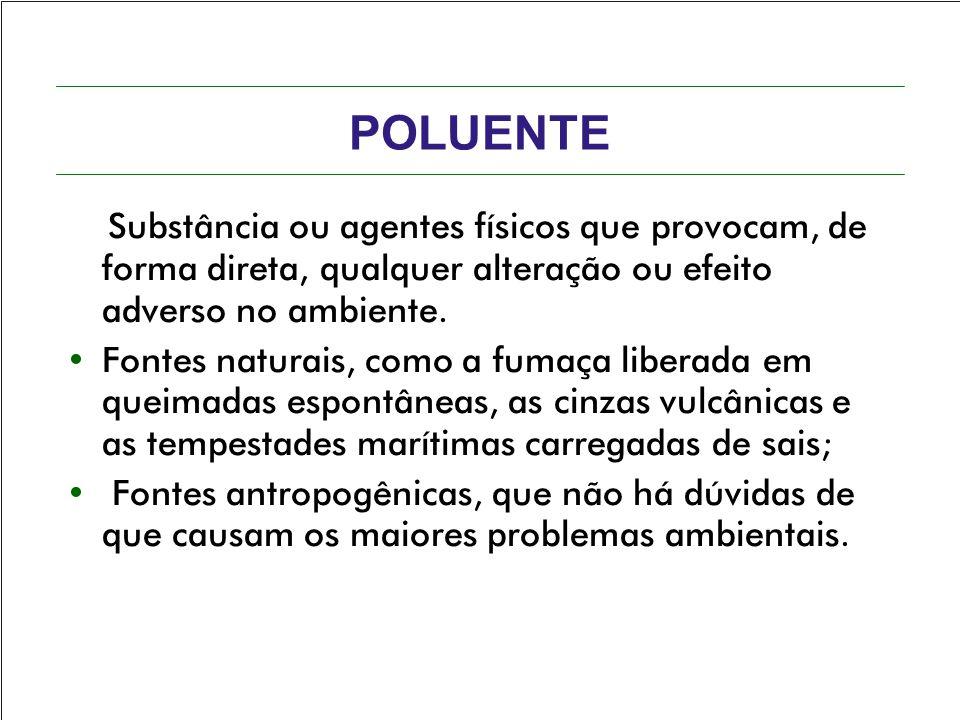 POLUENTE Substância ou agentes físicos que provocam, de forma direta, qualquer alteração ou efeito adverso no ambiente.