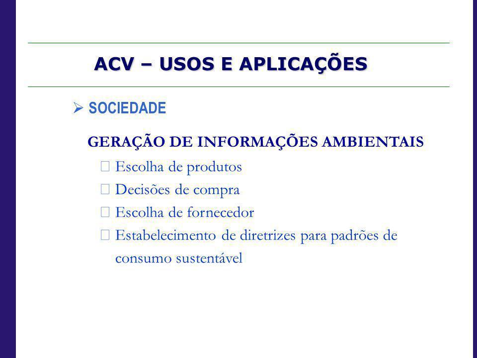 ACV – USOS E APLICAÇÕES  SOCIEDADE GERAÇÃO DE INFORMAÇÕES AMBIENTAIS