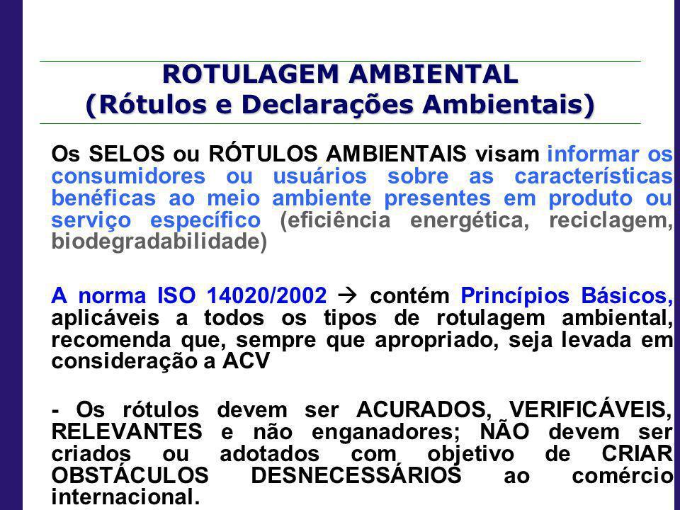 ROTULAGEM AMBIENTAL (Rótulos e Declarações Ambientais)