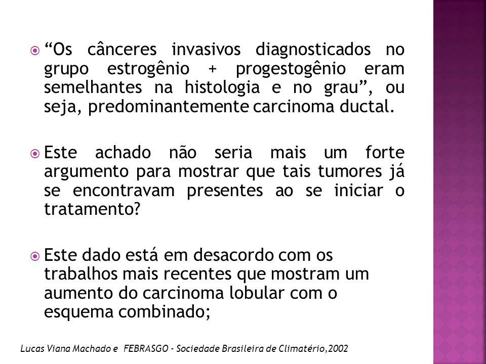Os cânceres invasivos diagnosticados no grupo estrogênio + progestogênio eram semelhantes na histologia e no grau , ou seja, predominantemente carcinoma ductal.