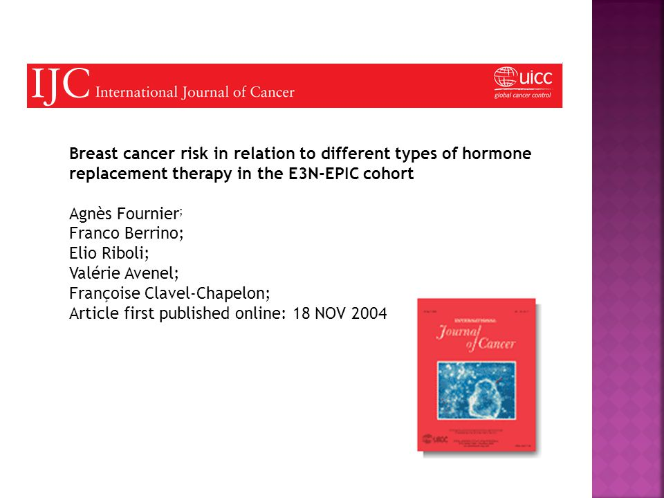 Breast cancer risk in relation to different types of hormone replacement therapy in the E3N-EPIC cohort