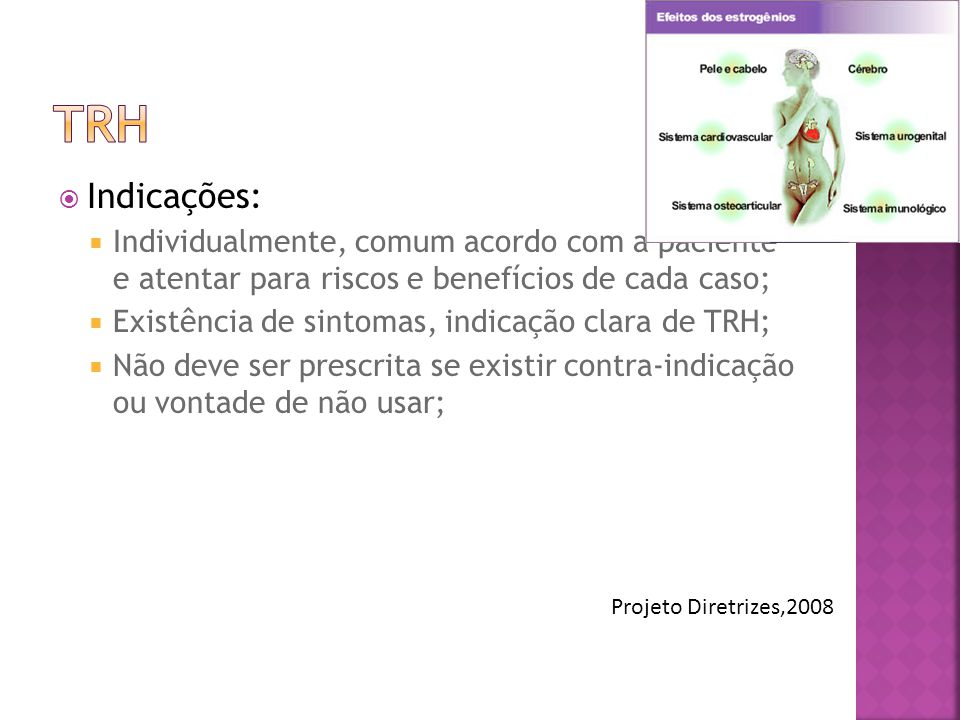 TRH Indicações: Individualmente, comum acordo com a paciente e atentar para riscos e benefícios de cada caso;