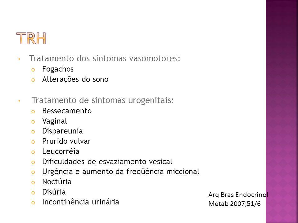 TRH Tratamento dos sintomas vasomotores: