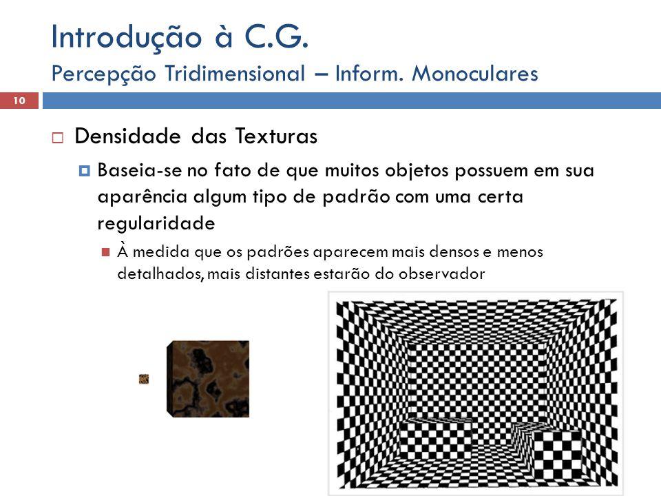 Introdução à C.G. Percepção Tridimensional – Inform. Monoculares