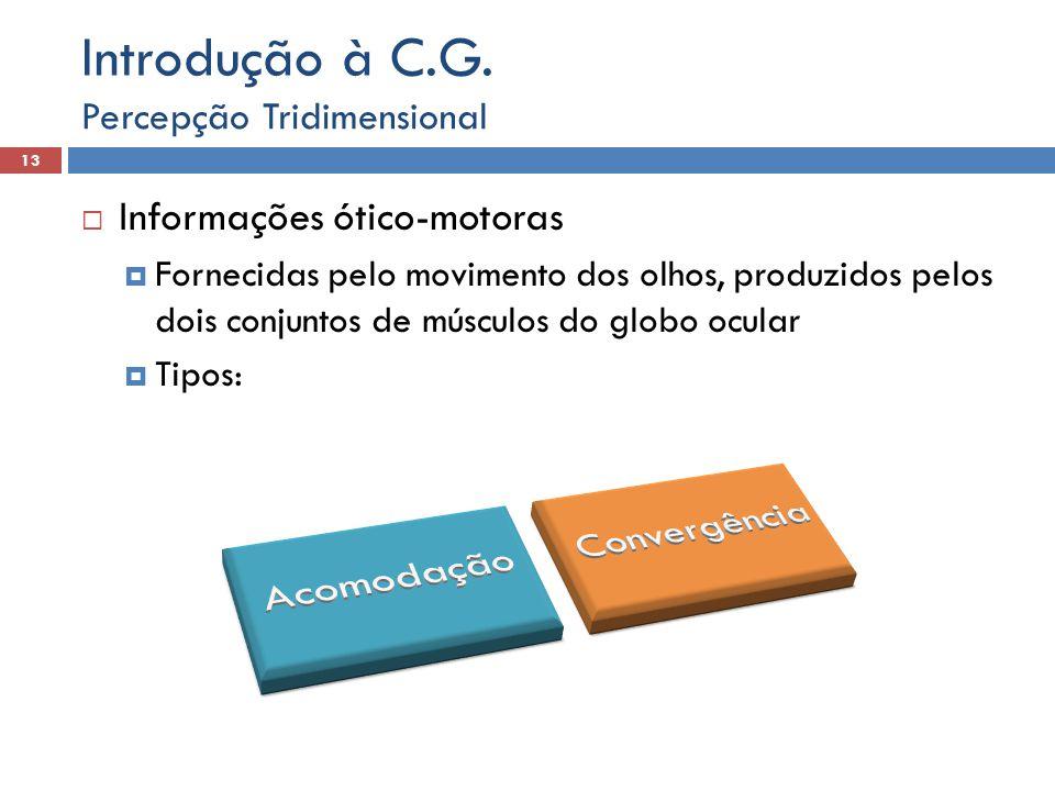 Introdução à C.G. Informações ótico-motoras Percepção Tridimensional