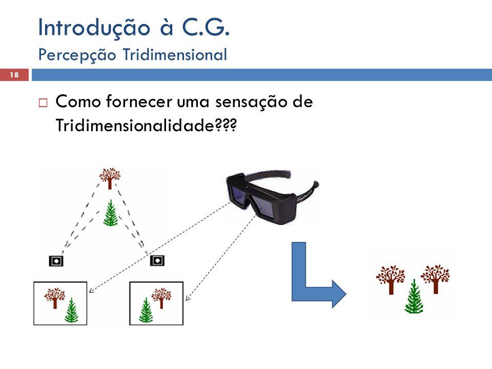 Introdução à C.G. Como fornecer uma sensação de Tridimensionalidade
