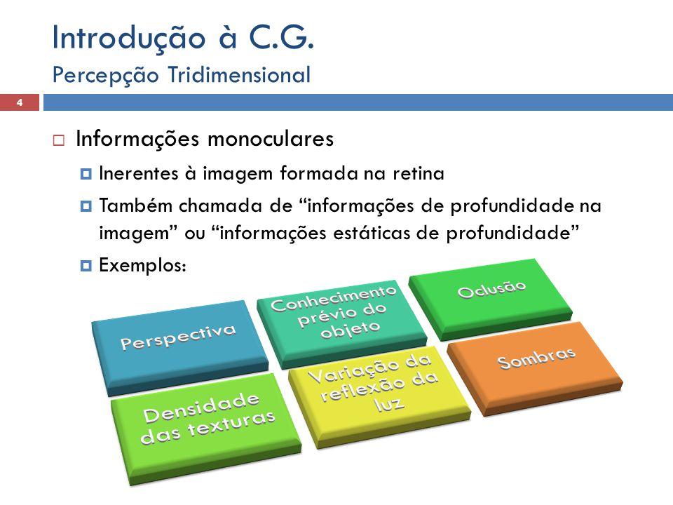 Introdução à C.G. Percepção Tridimensional Informações monoculares