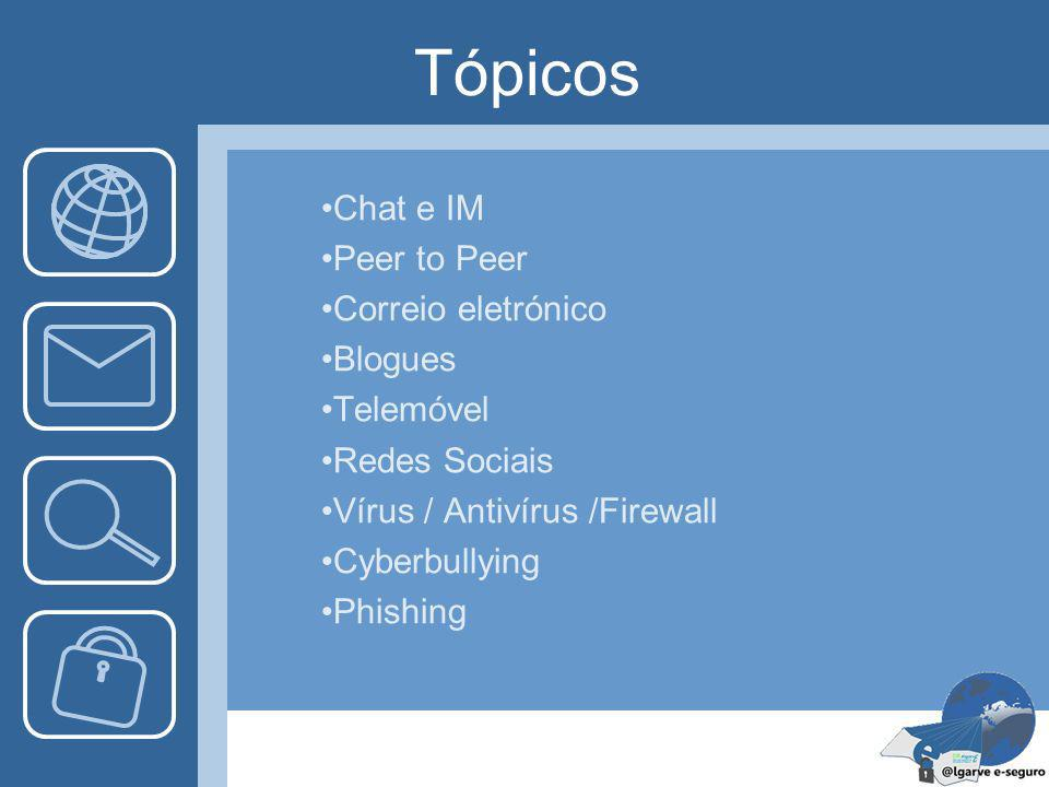 Tópicos Chat e IM Peer to Peer Correio eletrónico Blogues Telemóvel