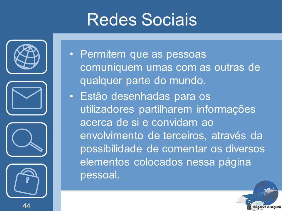 Redes Sociais Permitem que as pessoas comuniquem umas com as outras de qualquer parte do mundo.