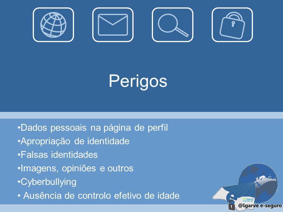 Perigos Dados pessoais na página de perfil Apropriação de identidade