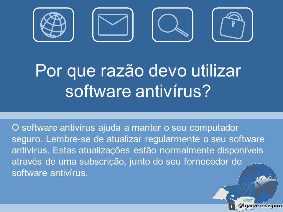 Por que razão devo utilizar software antivírus