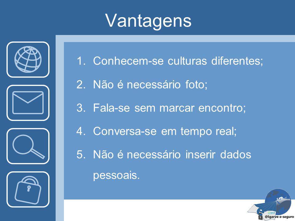Vantagens Conhecem-se culturas diferentes; Não é necessário foto;