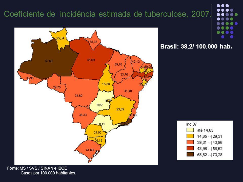 Coeficiente de incidência estimada de tuberculose, 2007.