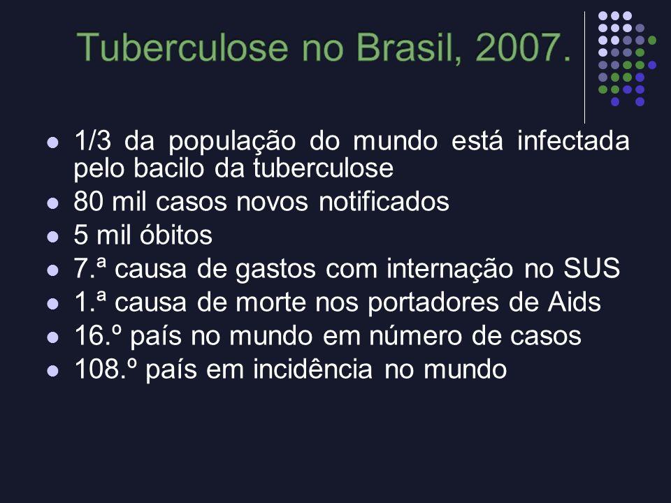 Tuberculose no Brasil, 2007. 1/3 da população do mundo está infectada pelo bacilo da tuberculose. 80 mil casos novos notificados.