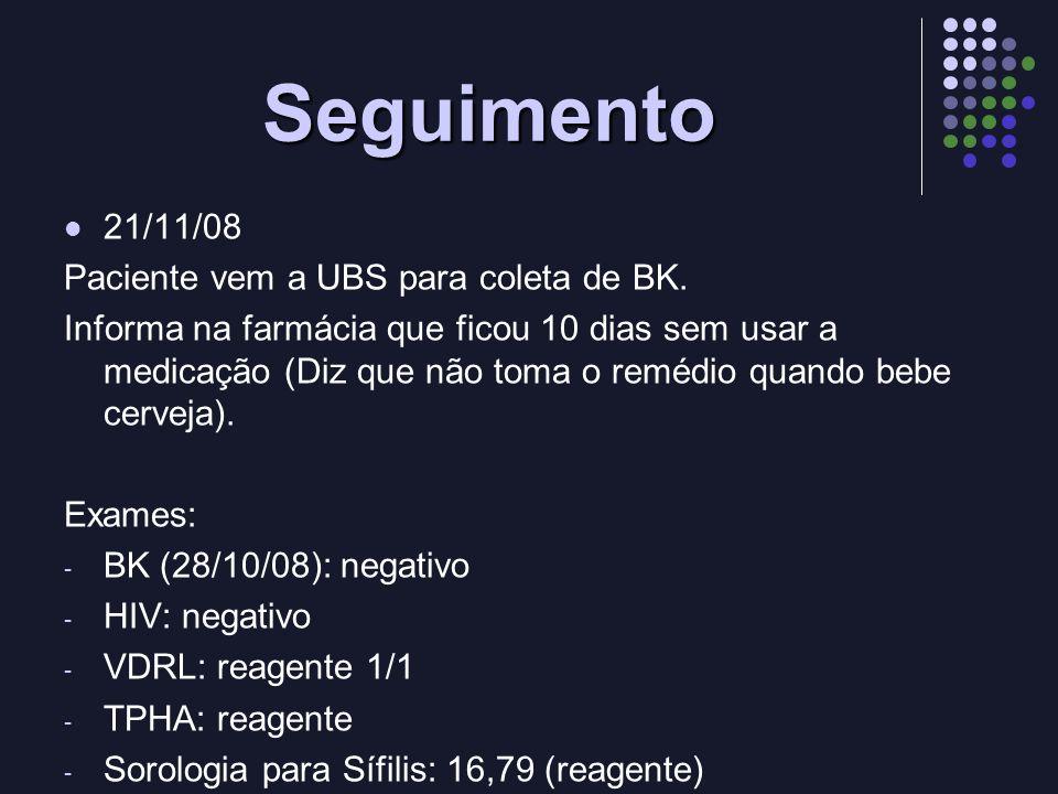 Seguimento 21/11/08 Paciente vem a UBS para coleta de BK.