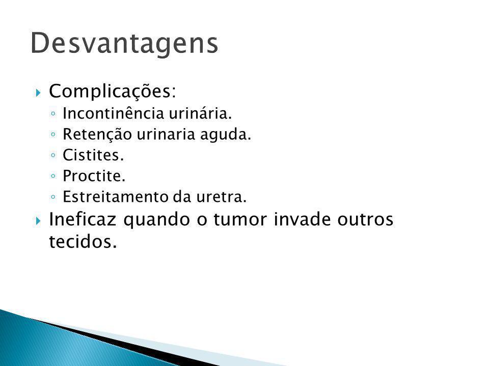 Desvantagens Complicações: