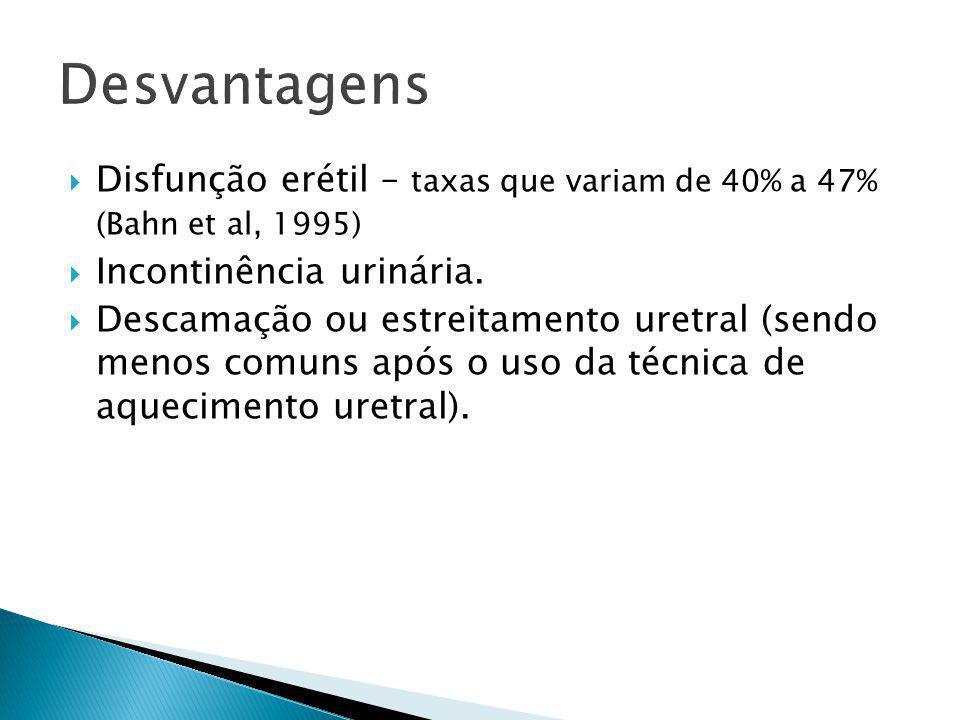 Desvantagens Disfunção erétil – taxas que variam de 40% a 47% (Bahn et al, 1995) Incontinência urinária.