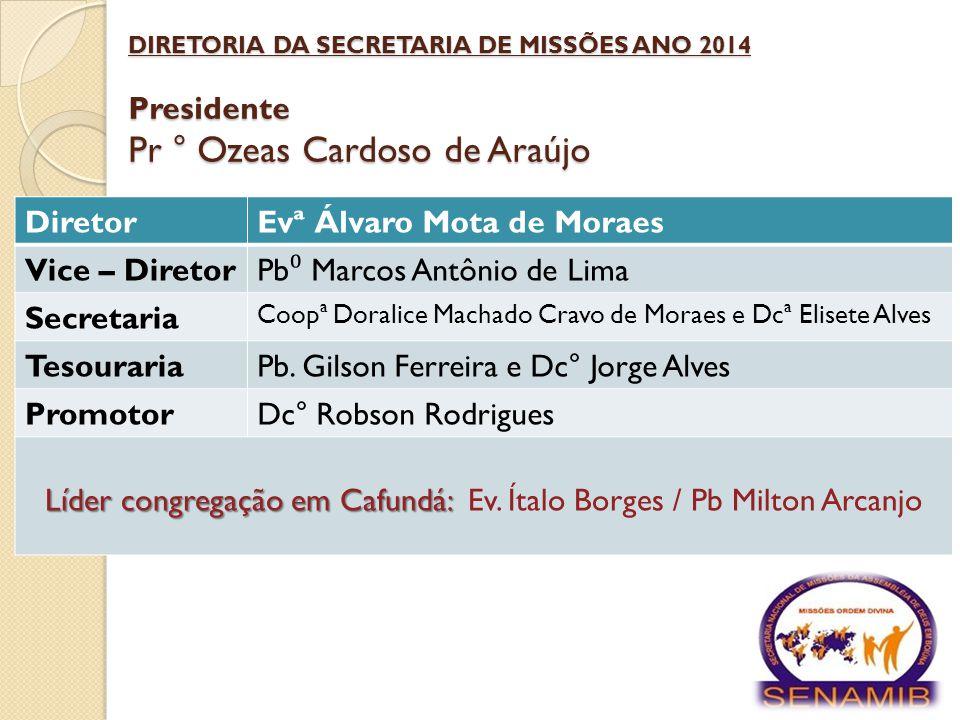 Líder congregação em Cafundá: Ev. Ítalo Borges / Pb Milton Arcanjo