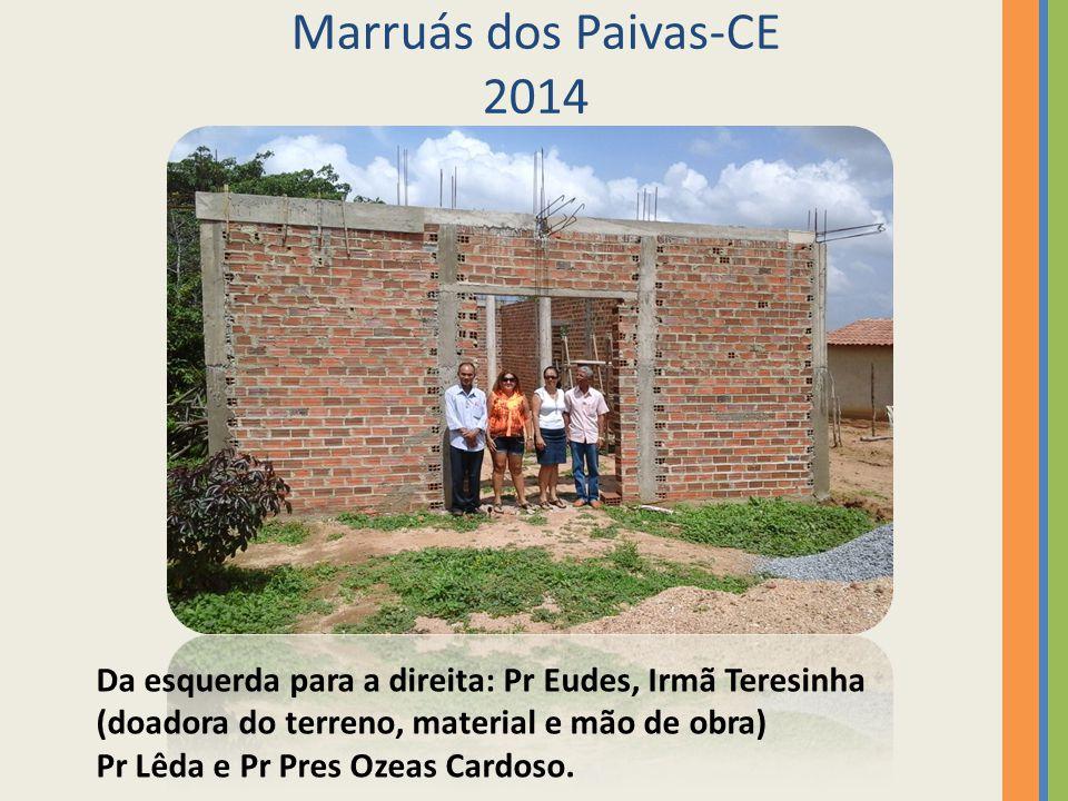 Marruás dos Paivas-CE 2014 Da esquerda para a direita: Pr Eudes, Irmã Teresinha. (doadora do terreno, material e mão de obra)