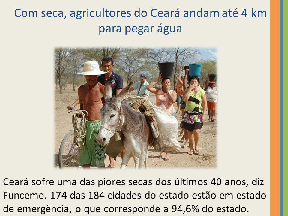Com seca, agricultores do Ceará andam até 4 km para pegar água