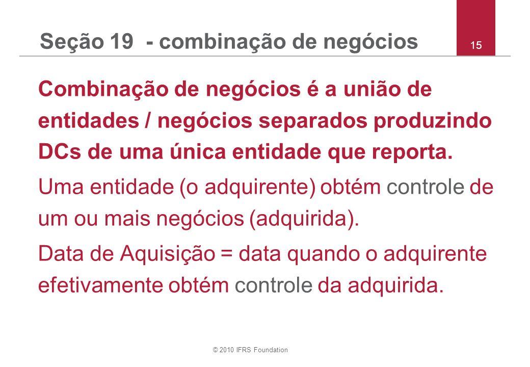 Seção 19 - combinação de negócios