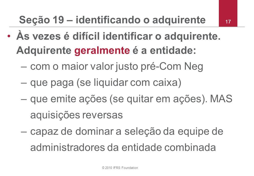 Seção 19 – identificando o adquirente